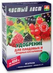Удобрение для плодовых и ягодных кустарников Чистый лист 300г